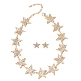 2 Piece Set - White Austrian Crystal Star Necklace (Size 19 with 4 inch Extender) and Earrings (with