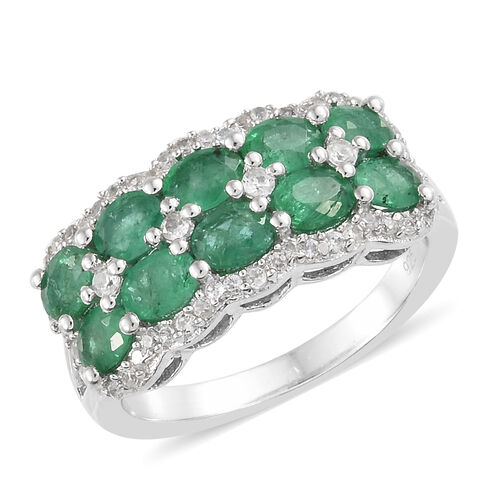 2 Carat AA Zambian Emerald and Cambodian Zircon Ring in Platinum Plated Sterling Silver