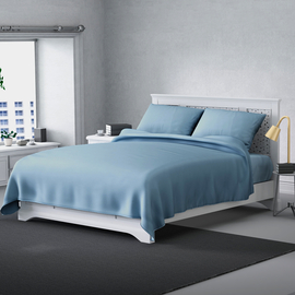Serenity Night 4 Piece Set - Solid Microfibre 1 Flat Sheet (230x265cm), 1 Fitted Sheet (140x190+30cm) & 2 Pillowcase (50x75cm) - Light Blue (Double)