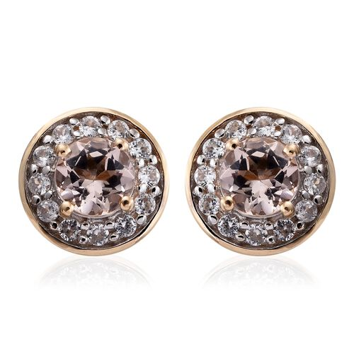9K Yellow Gold 1 Carat AA Marropino Morganite Halo Stud Earrings with Natural Cambodian Zircon (with Push Back)