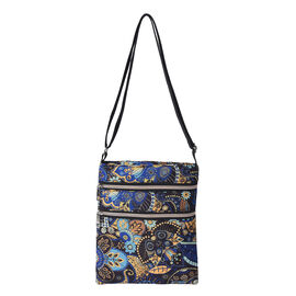 Floral Paisley Pattern Crossbody Bag with Zipper Closure and Adjustable Shoulder Strap (Size 21x26cm