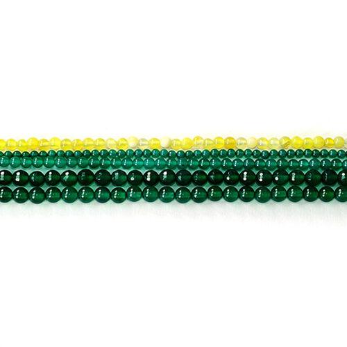 Green Agate Enhanced, Yellow Agate Enhanced Gemstone Chain (Beads) 225.000 Ct.