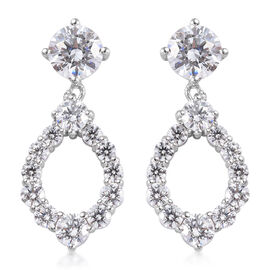 J Francis - Platinum Overlay Sterling Silver Drop Earrings (with Push Back) Made with SWAROVSKI ZIRC