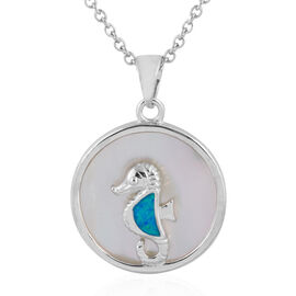 New Concept - Simulated Ocean Blue Opal and Mother of Pearl Seahorse Pendant With Chain (Size 20) in Sterling Silver.
