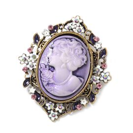 Cameo (Ovl), Magic Colour Austrian Crystal and Pink Austrian Crystal Brooch in Antique Gold Tone with Enameled