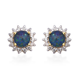 Super Find- Australian Boulder Opal, Natural Cambodian White Zircon Halo Stud Earrings (with Push Ba