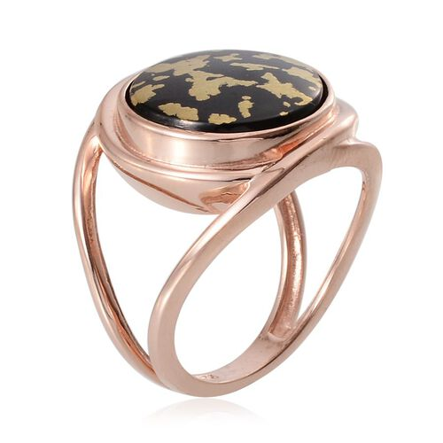 Goldenite (Rnd) Solitaire Ring in Rose Gold Overlay Sterling Silver 6.250 Ct. Silver wt 6.51 Gms.