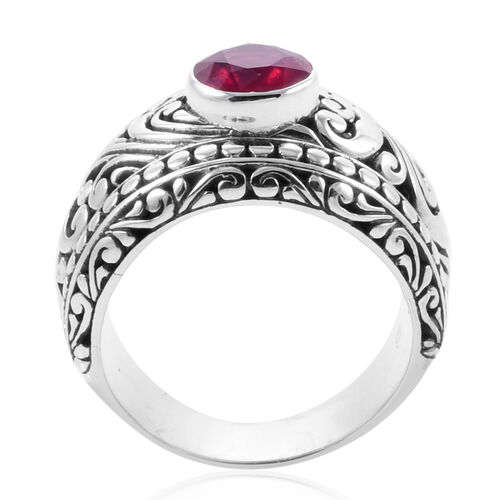 Royal Bali Collection African Ruby (Rnd 8mm) Ring in Sterling Silver 2.610 Ct, Silver wt 12.50 Gms.