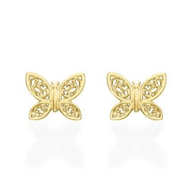9K Yellow Gold Filigree Butterfly Stud Earrings (with Push Back)