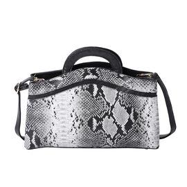 Snakeskin Print Satchel Bag (Size 35x23x8cm) - Grey