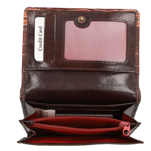 SUKRITI 100% Genuine Leather RFID Protected Peacock Wallet (Size 11.5x20.5x2.5cm) - Brown