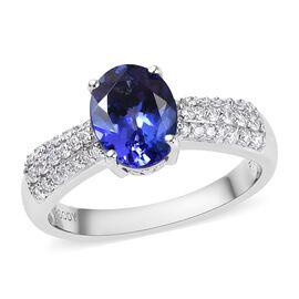 RHAPSODY 2.01 Carat AAAA Tanzanite and Diamond Classic Ring in 950 Platinum 5.50 Grams
