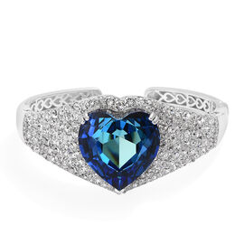Super Auction- J Francis - Crystal from Swarovski Bermuda Blue Crystal (Hrt), White Crystal Heart Cuff Bangle (Size 7.5) in Platinum Overlay Sterling Silver, Silver wt 40.77 Gms
