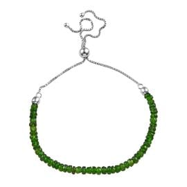 Russian Diopside (Rnd) Beads Bracelet (Size 6.5-10 Adjustable) in Rhodium Overlay Sterling Silver 13