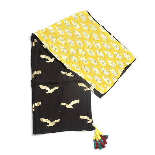 85% Cotton 15% Silk Yellow, Black and Gold Colour Bird Pattern Scarf with Tassels (Free Size)