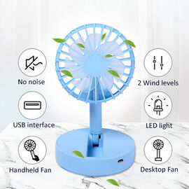 Foldable and Adjustable Mini Fan with 2 Wind Speed Settings (Size:9x9x16cm) - Blue