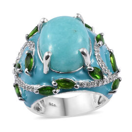 10.75 Ct Peruian Amazonite and Cambodian Zircon Solitaire Design Ring in Sterling Silver 12.94 Gms