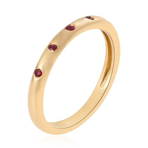 Burmese Ruby Band Ring in 14K Gold Overlay Sterling Silver