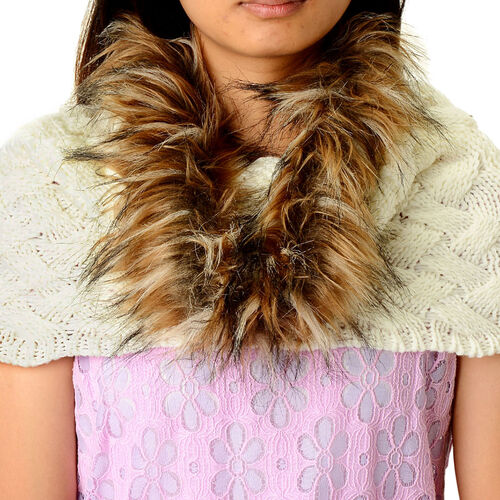 White Colour Neck Scarf with Faux Fur Collar (Free Size)