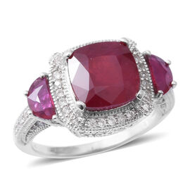 7.85 Ct African Ruby and Cambodian Zircon Trilogy Halo Design Ring in Rhodium Plated Silver