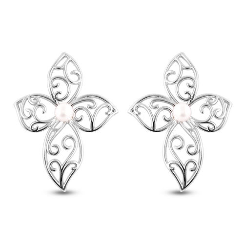LucyQ White Freshwater Pearl Flower Petal Stud Earrings ( with Push Back )  in Rhodium Overlay Sterl