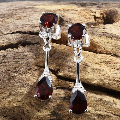 Mozambique Garnet (Pear and Rnd) Earrings (with Push Back) in Sterling Silver 2.750 Ct.