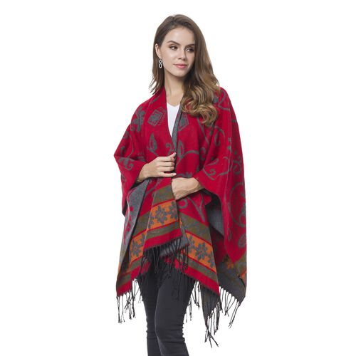 Designer Inspired- Red, Orange and Green Colour Floral Pattern Grey Colour Kimono with Tassels (Size 120X75 Cm)