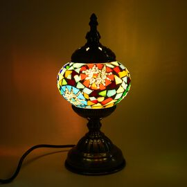 Handmade Turkish Mosaic Glass Table Lamp with Bronze Base (Size 30x11.5 Cm) - Blue and Multi