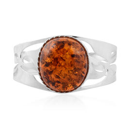 Baltic Amber Cuff Bangle in Silver 35 Grams 7.5 Inch