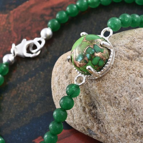 Close Out One Time Deal-Mojave Green Turquoise (Rnd 7.25 Ct), Green Quartzite Bracelet (Size 7.5) in Platinum Overlay Sterling Silver 22.500 Ct.