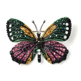 Multicolour Austrain Crystal (Rnd) Enamelled Butterfly Brooch in Silver Tone