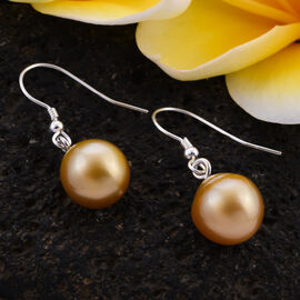South Sea Golden Pearl Hook Earrings in Sterling Silver