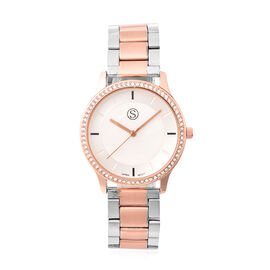 STRADA Japanese Movement Silver in Rose Gold Tone Watch with Crystal Studded Bezel
