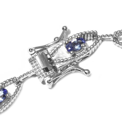 Tanzanite Bracelet (Size 7) in Platinum Overlay Sterling Silver 2.09 Ct, Silver wt. 8.70 Gms