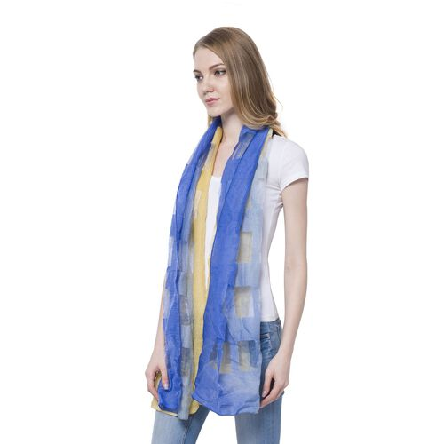 20% Wool Blue and Yellow Colour Transparent Checks Pattern Scarf (Size 180x60 Cm)