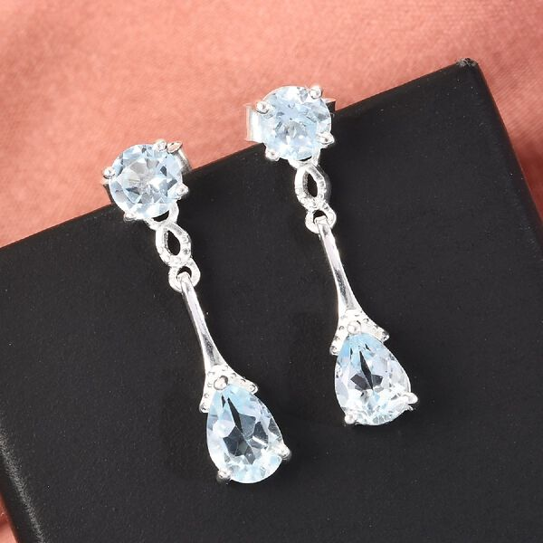 Sky Blue Topaz (Pear and Rnd) Earrings (with Push Back) in Sterling Silver 2.59 Ct.