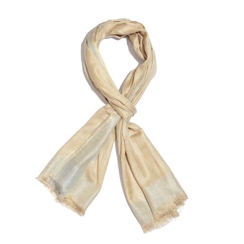 100% Modal Beige and Silver Colour Scarf with Fringes (Size 180X70 Cm)