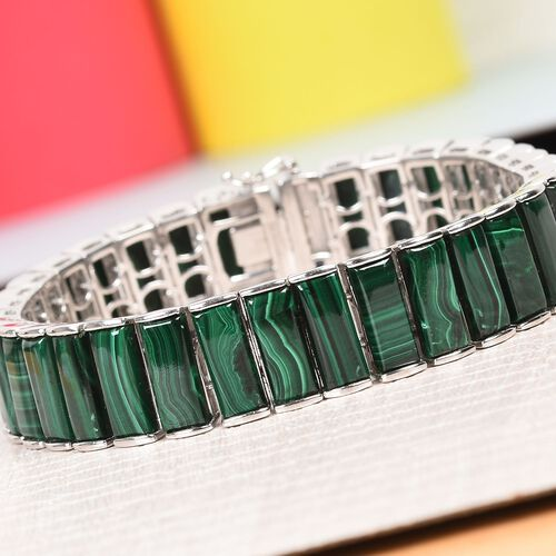 GP Malachite, Blue Sapphire Bracelet (Size 7.5) in Platinum Overlay Sterling Silver 70.02 Ct, Silver wt. 33.09 Gms