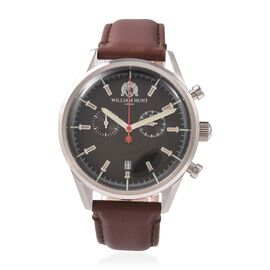 WILLIAM HUNT Swiss Movement Water Resistance Watch in Stainless Steel with Chocolate Leather Strap