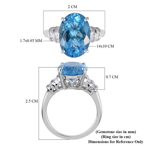 Swiss Blue Topaz(Ovl 14x10), Diamond(.25ct) Platinum Overlay Sterling Silver Ring (7.35ct)