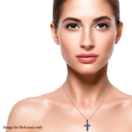 Simulated Blue Diamond Cross Pendant with Chain (Size 20 with 2 inch Extender) in Silver Tone