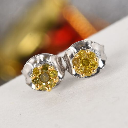 OTO- Yellow Diamond Pressure Set Floral Earrings (with Push Back) in Platinum Overlay Sterling Silver