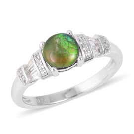 1.55 Ct AA Canadian Ammolite and White Topaz Classic Ring in Rhodium Plated Sterling Silver