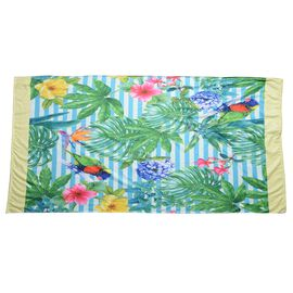 Blue, Pink and Green Colour Parrot in Forest Pattern Beach Towel or Bag (Size 88x170 Cm)