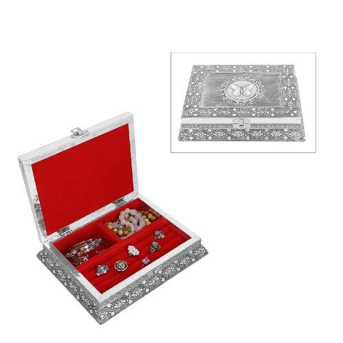 3D Embossed Collection Handcrafted Butterfly Oxidised Jewellery Box (Size 23x17.7 Cm) with Bright Re