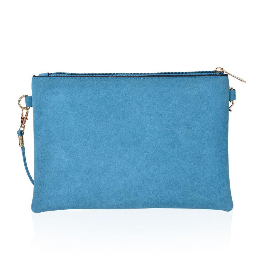 Sky Blue Floral Embroidered Velvet Crossbody Bag With Removable Shoulder Strap (Size 23X16 Cm ...
