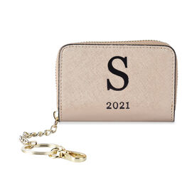 Genuine Leather Alphabet S Wallet with Engraved Message on Back Side (Size 11X7.5X2.5 Cm) - Gold