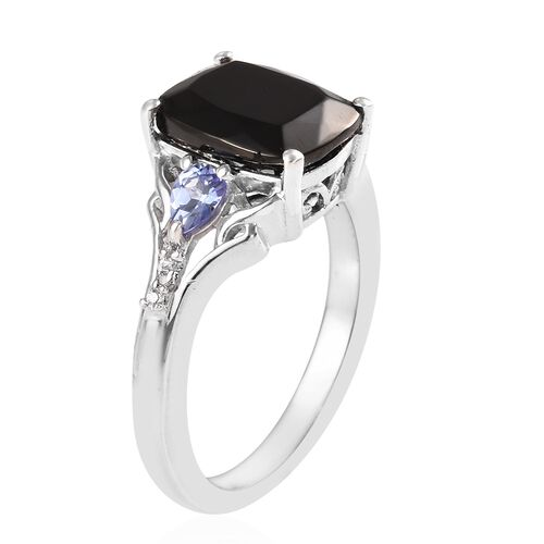 Elite Shungite (Cush 10x8 mm), Tanzanite and Natural Cambodian Zircon Ring in Platinum Overlay Sterling Silver 2.000 Ct.