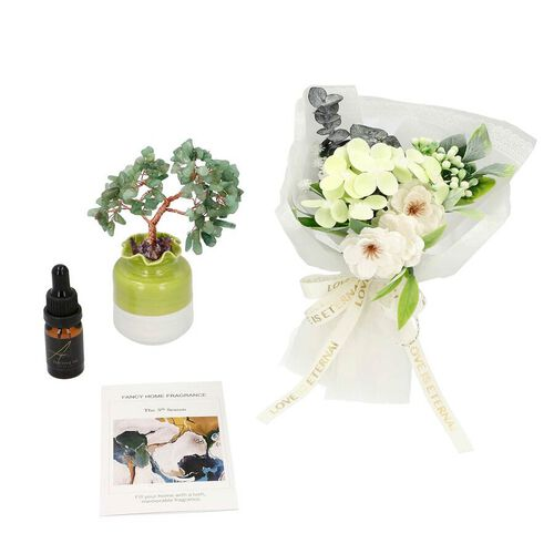 The 5th Season Gemstone Tree In Porcelain Vase with  100ml Essential oil and Artificial Bouquet In G