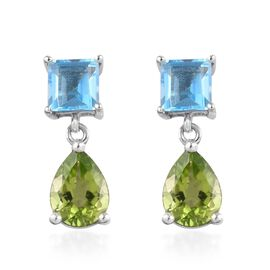 Hebei Peridot and Swiss Blue Topaz Drop Earrings (with Push Back) in Platinum Overlay Sterling Silve